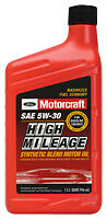 Motorcraft sae 5w 30 high mileage synthetic blend motor for Motorcraft synthetic blend motor oil