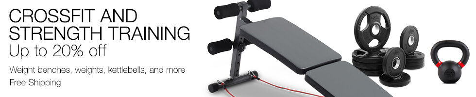 Crossfit & strength training up to 20% off | Weight benches, weights, kettlebells, and more