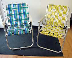 FOLDING LAWN CHAIRS WITH WEAVED WEBBING