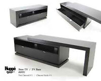 Adjustable TV Stand Otello 6951 by Huppe. White walnut finish
