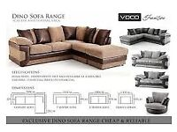 NEW DINO SOFAS JUMBO CORD AND LEATHER SOFA MULTI SIZES AND COLOURS