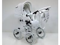 white eco-leather 3 in 1 pram travel system