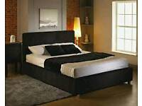 DOUBLE BED BLACK AND FREE MATTRESS AND FREE QUILT