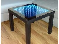 NEW!!!! Coffee Table LED 3D Illuminated INFINITY MIRROR GLASS TOP WITH SOUND SENSORS