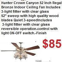 Hunter Crown Canyon 52 Inch Regal Bronze Indoor Ceiling Fan Includes 3-light fitter with clear glassThe Crown Canyon