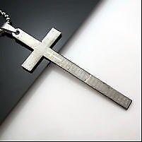 Beautiful Big Silver Cross Pendant & Chain.