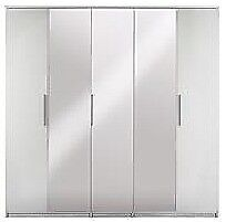 Prague Gloss 5-Door Mirrored Wardrobe, **WHITE FRAME & GREY ASH BASE** H 199, W 201, D 53 cm.