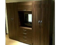 Fully Assembled 4 Door Wardrobe Fitment Set with Dresser, Mirror, Chest of Drawer, Rails and Shelves