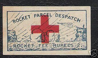 India 2 Ru Pees 1935 Rocket Mail Parcel With Red Cross Stamp King British Period