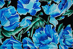 Blue Floral on Black Fashion Fabric