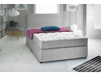 BRAND NEW KINGSIZE BED GREY SUEDE POCKET MEMORY FOAM DIVAN BED SET & HEADBOARD
