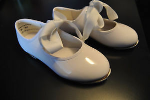 claquettes blanches vernies white tap dancing shoes taille 7