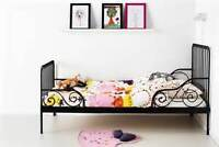 MINNEN ~ IKEA Ext bed frame with slatted bed base, black