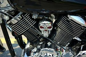 New V Star 1100 Chrome CARBURETOR SKULL COVER !!!