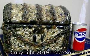 Antique Stone Chain Covered Gothic Pirate Chest Jewelry Cache Box