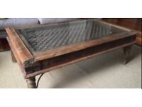 Large Indian teak & wrought iron glass top coffee table 133 x 83 x 46 cms