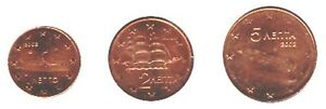 Greece-2002-Mini-Set-of-3-Euro-Coins-UNC-NEW