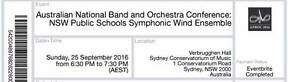 6 tickets to ANBOC Concert Sydney Conservatorium of Music Springwood Blue Mountains Preview