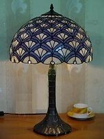 Royal-Blue-Tiffany-Style-Stained-Glass-Table-Lamp-Handcrafted-Light-Decor-24-h