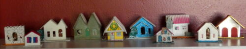 Vintage 1940s Christmas Putz Village Cardboard Mica House Ornament Lot