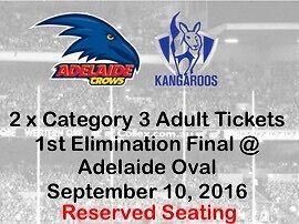 2 X ADULT (CAT 3) ADELAIDE V NTH MELBOURNE ELIMINATION FINAL Adelaide CBD Adelaide City Preview