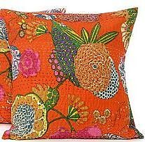 1 Cushion Cover: India Handmade Floral 100% Cotton Embroidered Pillowcase slip