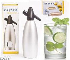 Kayser-Silver-1lt-Soda-Syphon-Siphon-With-10-Soda-Charger-Bulbs
