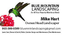 Blue Mountain LANDSCAPING 905-380-0589