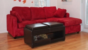 Red Sofa-bed, Convertible table, Bed w/queen mattress & Drawer