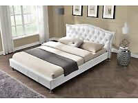 Brand new white kingsize beds white faux leather bed diamond bed