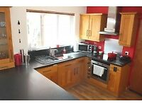 Solid oak kitchen cabinets, sink and hob
