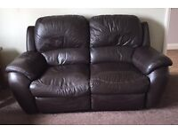 3 and 2 Seater Chocolate Browl Leather Sofas (4 manual recliners)
