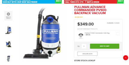 PULLMAN BACKPACK VACUUM with warranty -only few months old