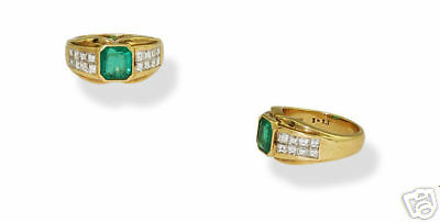 18k Yg Ladies 1.47ct Emerald Diamond Cocktail Ring