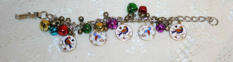 Lot 2: Vintage Dime Store Stock Charm Bracelet with Bird Hex Sign Charms