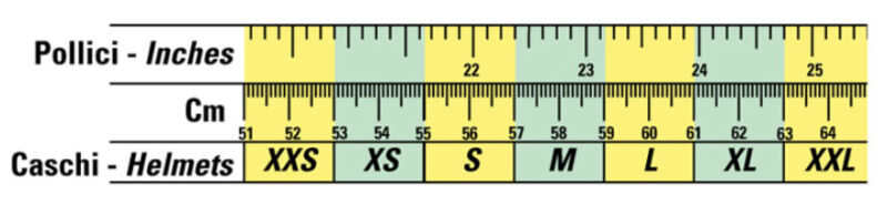 OMP helmet size chart in inches and centimetres