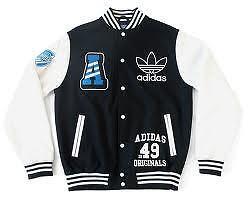 Mens-Adidas-Originals-Varsity-Jacket-Wool-II-Size-2XL-NWT-Black-White-XXL