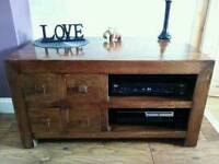 Mango solid wood tv unit table cabinet