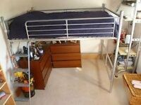 Metal double high sleeper bed frame