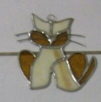 Small stained glass cat, flower and iris for sale London Ontario image 1