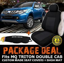 Mitsubishi Triton MQ DOUBLE CAB BLACK Seat Covers & DASH MAT Mile End West Torrens Area Preview