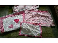 Mothercare girls pink cot bed set