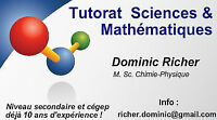 Cours privés @ domicile Mathématiques Sciences Secondaire Cégep