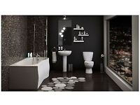 full bathroom - Shower bath inc Glass bath screen + panel with toilet, basin taps and waste