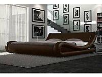 Tempur Mattress w/Designer Italian Bedframe and Side Cabinets