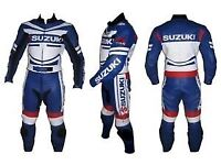 Suzuki Motorbike Racing Leathers Suit, CE Approved Armour