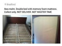 DOUBLE BED WITH MEMORY FOAM MATTRESS ....2× BEDSIDE table give you for free