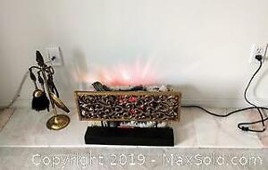 Electric fire logs, deco screen and tool kit.