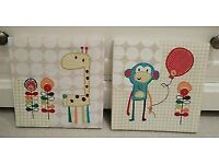 Mamas and Papas jamboree canvases monkey and giraffe pictures frames nursery