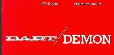 1971 71 Dodge Dart Owner's Manual